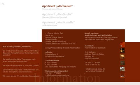 """Internet-Auftritt, Apartment """"Mörhausen"""", Info-Seite"""