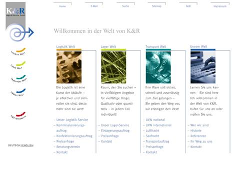 Internet-Auftritt, K&R, Lager und Service GmbH, Home